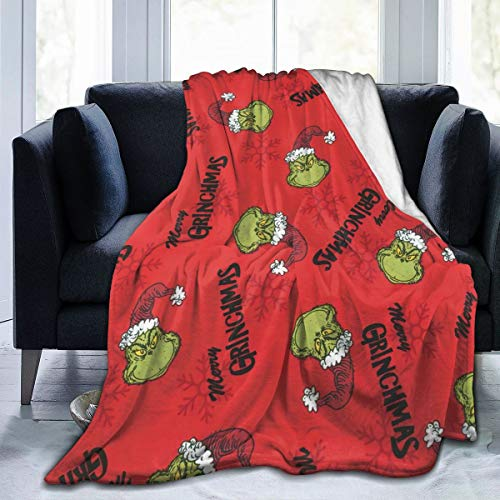 Milarz Grinch Throw Blanket Flannel Ultra-Soft Micro Fleece Blanket for Couch, Sofa, Bed, Warm Throw Blanket for The Grinch Decor Christmas Decorations Blanket 60'X50'
