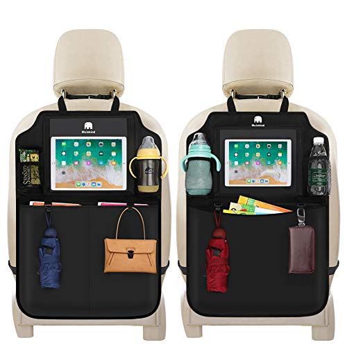 Meinkind Car Backseat Organizer, 2-Pcs Car Seat Protector Back Seat Organizer Kick Mats with Clear Screen Tablet Holder, Water-Proof Car Seat Organizer, Travel Organizer for Kids and Toddler, Black