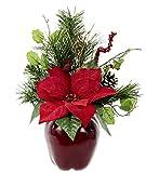 Gesteck Weihnachtsstern auf Apfel-Topf Poinsettie Kunstblume Weihnachtsblume Winterblume Blume Pflanze Arrangement Weihnachtsdeko Tischdeko