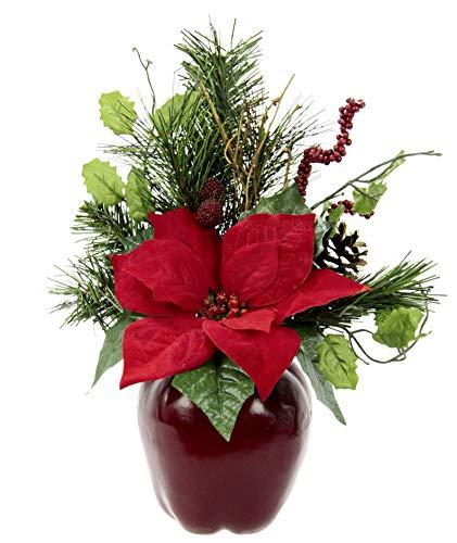 Flair Flower Gesteck Weihnachtsstern auf Apfel-Topf Poinsettie Kunstblume Weihnachtsblume Winterblume Blume Pflanze Arrangement Weihnachtsdeko Tischdeko, rot, 33x23x11 cm
