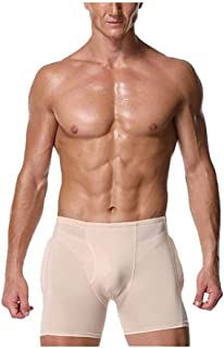 PAPIKOOL Mens Padded Boxer Panties Seamless Push-up Underwear Briefs High Waist Tummy Control Bodyshaper (Color : Natural,...