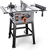 Table Saw, 10-Inch 15-Amp Table Saw, Cutting Speed up to 4800RPM, Aluminum Extension Table, 24T Blade,...