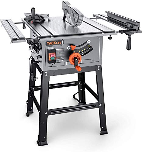 TACKLIFE Table Saw, 10-Inch 15-Amp Table Saw 4800RPM, 24T Blade, 31-1/2'' Rip Capacity, 45ºBevel Cutting, Aluminum Extension Table, Jobsite Table Saw with Stand, Miter Gauge, Push Bar - MTS01A