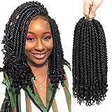 Fayasu Spring Senegalese Twist Crochet Braids Curly End Pro looped Crochet Hair Synthetic Twist Braiding Crochet Hair Extension for Black Women (12inch(9 PACKS), #1B)