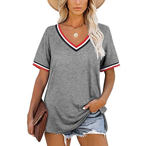 SLYZ Blusa Suelta De Manga Corta con Cuello En V Y Costuras A Rayas De Mujeres Europeas Y Americanas Y Camiseta Suelta De Color A Juego