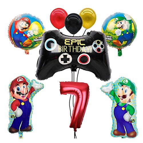 globo 1 set Mario Globos 32 pulgadas número globo chico niña fiesta de cumpleaños decoración de la fiesta de dibujos animados juego de dibujos animados suministros para niños juguetes para niños