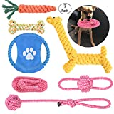 Bogeer Juguetes de Cuerda para Perros, Juguetes mordedor Perro, Juguete Interactivo Conjunto para Perros y Mascota, Herramientas de Entrenamiento de Perros (7 Piezas)