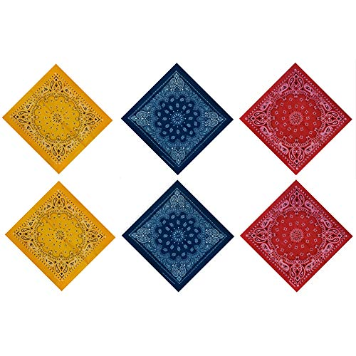 Mechaneer 6 Pack 100% Cotton Double Sided Print Cowboy Bandana Multi-Purpose Paisley Bandanas Headband(Yellow&Blue&Red)
