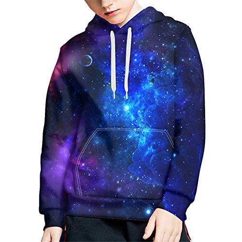 WELLFLYHOM Galaxy Stars Youth Hoodies and Sweatshirts for Teen Girls Boys Fashion Drawstrings Hooded Pullover Casual Athletic Long Sleeve Jumper Loose Soft Hoody Active Jackets Size 8-10