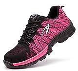 Ucayali Zapatillas de Seguridad Mujer Zapatos de Trabajo con Punta de Acero Calzado Protección Laboral Deportivos - Ultraligeras Transpirables y Cómodas, Rosa 37