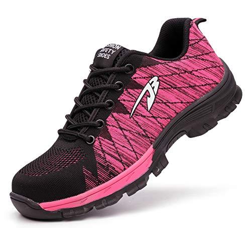 Ucayali Zapatillas de Seguridad Mujer Zapatos de Trabajo con Punta de Acero Calzado Protección Laboral Deportivos - Ultraligeras Transpirables y Cómodas, Rosa 40
