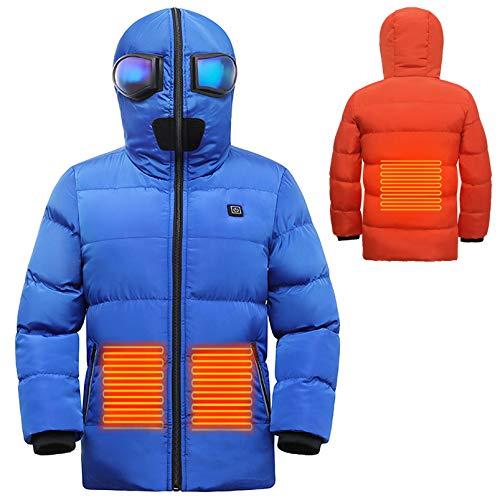 Yeah-hhi Kinder Beheizte Jacke USB-Ladeheizung Mit Kapuze Baumwollmantel Jungen Mädchen Smart Erwärmung Elektrische Skijacke Für Skifahren Camping,B,170CM