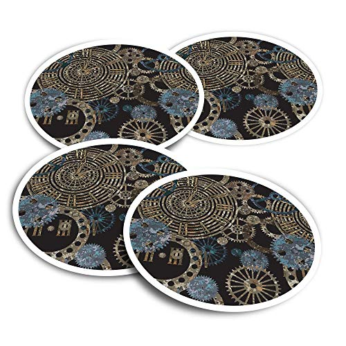Adesivi in vinile (set da 2) 10 cm – Steampunk Gears Pattern Clockwork Fun Decalcomanie per computer portatili, tablet, bagagli, libri di rottami, frigoriferi #24259
