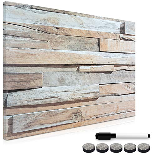 Navaris Memo Board Lavagna Magnetica 90x60cm - Lavagnetta Scrivibile Cancellabile con 1x Pennarello e 5X Calamite - Bacheca Design Parete Pietra