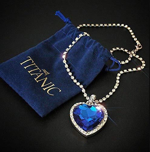 CXWK Titanic Herz des Ozeans Blau Herz Liebe Für Immer Anhänger Halskette Mit Samt Tasche Blau 45 cm
