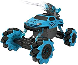 Vaiyer RC Rechargeable Remote Control Stunt Car for Kids with 2-in-1 Interchangeable Toy Bubble Blaster and Water Gun Tops, Rock Crawler Outdoor Off Road Vehicle with 360 Degree Movement (Blue)