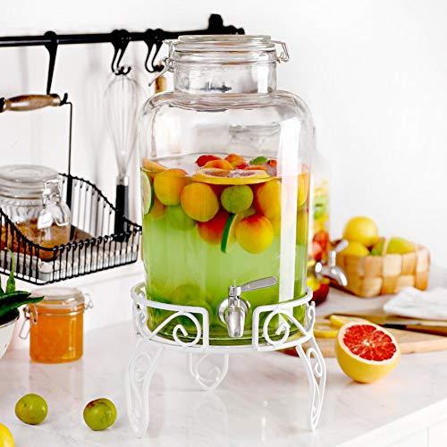 Vintage Mason Jar, glazen kan, drankdispenser, met houder en uitloop van roestvrij staal, glazen deksel met silicone gevoerd, voor limonade/thee/koud water ++ White Steel Base 8l