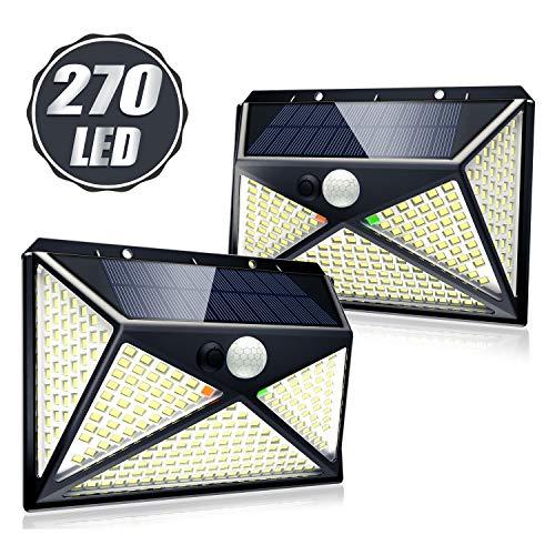 2 x Solarleuchte mit Bewegungsmelder für Außen, 270 LED, 300°Beleuchtungsbereich und IP65 Wasserdicht Solarlampe Garten für Außenbereich, Sicherheitswandleuchte mit 4 Modi [2000mAh]
