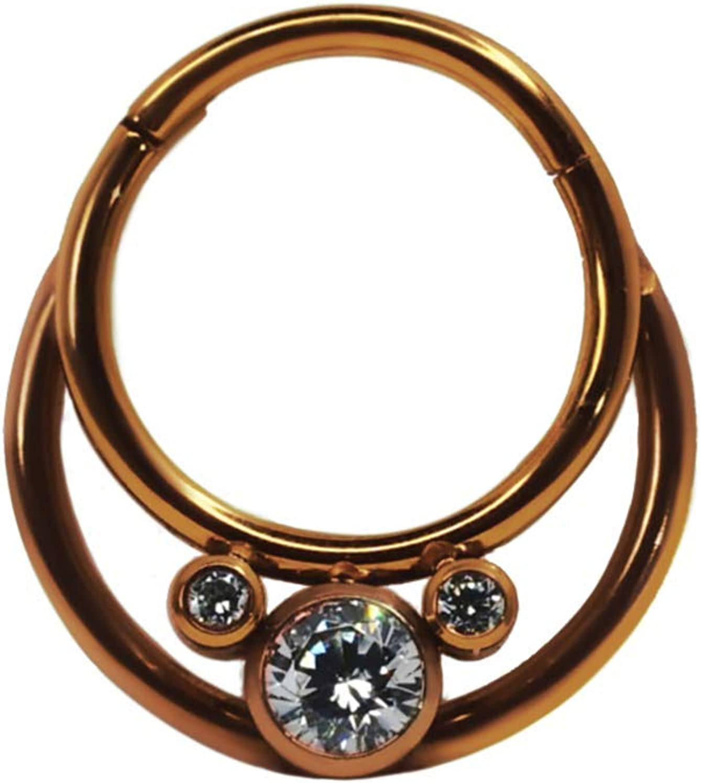 Hinged Hoop Double Cubic Zirconia Cluster F136 Titanium Seamless Hoop Body Jewelry Daith Piercing Septum Piercing Ear Piercing Cartilage (Rose Gold)