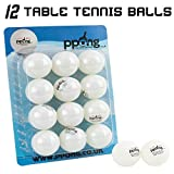PPong Table Tennis Balls - 12 Pack - White - High Performance Ping Pong Balls for Training and Competition