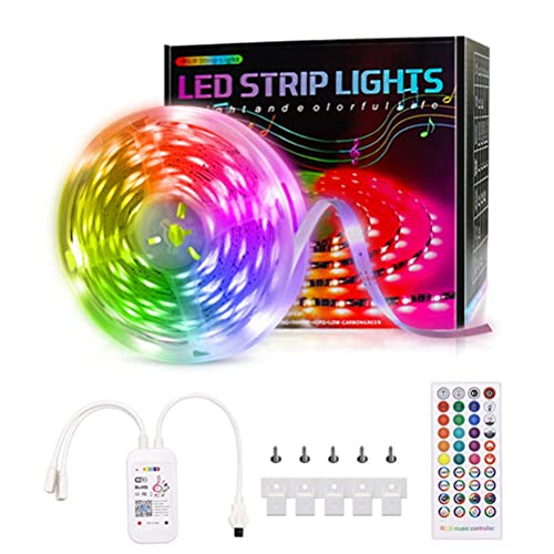 Tiras LED, Tira de luz LED RGB de 5 m 5050 Music Sync, aplicación Bluetooth, kit de luz de barra remota, luces LED RGB que cambian de color, gabinete, iluminación de TV de cocina, cinta de luces LED