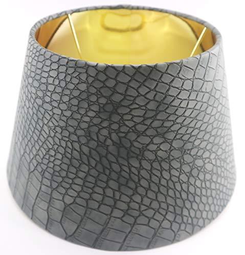 Designer-Lampenschirm-Grau-Kroko-Optik Kunst Leder rund konische Form Ø 30cm innen Gold (20 * 30 * 18cm)