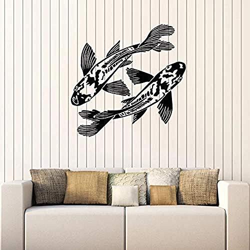 Muursticker met een paar vissen, voor aquarium, zeevissen, in zee, huisdecoratie, sticker voor ramen, goede gladheid, muurkunst, 57 x 58 cm