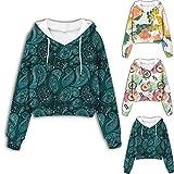 Bsemax Crop Jersey para mujer con diseño de flor de cachemir, informal, de manga larga, con cordón, con capucha, para adolescentes y niñas, Rosa., M