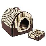 2 en 1 Casa y Sofá para Mascotas, Lavable a Máquina Casa Nido Cueva Cama de Perro Gato Puppy Conejo Mascota Antideslizante Plegable Suave Calentar con Cojín Extraíble,(Kennel + Mat) 8,XL (75*57*55 CM)