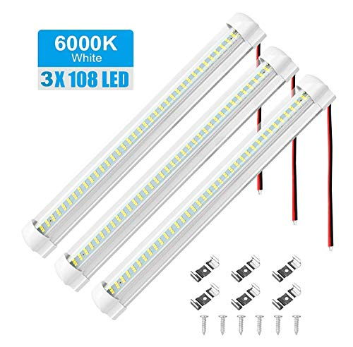 108 LED Barra Luminosa a LED per Interni, Luci Interne 12V - 24V LED Strip Lights - Barra Lampada Illuminazione Universale con Interruttore ON/OFF