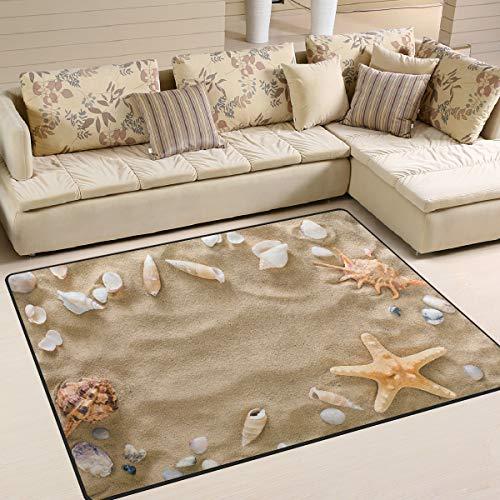 Use7 Sommer-Muschel-Teppich mit Seestern und Kieselsteinen, für Wohnzimmer, Schlafzimmer, 160 x 122 cm