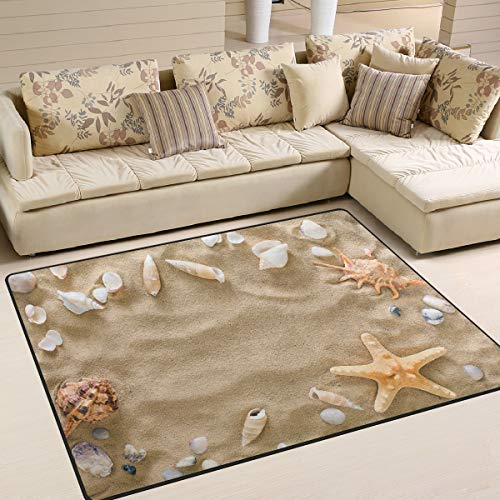 Use7 Sommerteppich Seestern Kieselsteine am Strand Sand Teppich Teppich für Wohnzimmer Schlafzimmer, Textil, multi, 203cm x 147.3cm(7 x 5 feet)