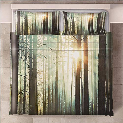 CURTAINSCSR Duvet Cover Forest King Size Printed Polyester Bedding Set Quilt Cover with Zipper Closure+2 Pillowcases Easy Care Anti-Allergic Soft & Smooth Apply to Boy Girl Bedroom