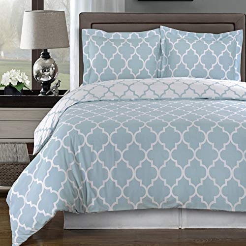 Blue and White Meridian Full / Queen 3-piece Duvet-Cover-Set, 100 % Cotton 300 TC