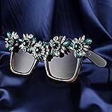 Secuos Mode Luxus-Frauen-Sonnenbrille Großer Rahmen Übergroße Sonnenbrille Quadratischer Grüner Diamant-Dekoration-Party-Art-Sonnenbrillen-Frauenschatten Leopard