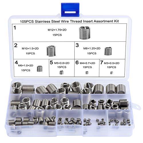 WiMas 105Pcs Edelstahl Gewinde Reparatursatz, Drahtgewinde Reparatur Einsatz, Selbstschneidender Gewindeeinsatz M3 M4 M5 M6 M8 M10 M12