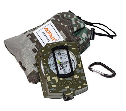 AOFAR Bussola Militare Multifunzionali Compasso Impermeabile Scocca di Metallo con Sacchetto da Trasporto per Navigazione Campeggio Escursione Avventura Trekking