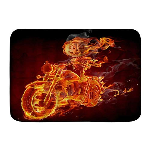 Fußmatten, Halloween Kürbis Laterne Flammenschädel Motorrad Ghost Retro Horror Festival Klassische Kunst, Küchenboden Badteppich Matte Saugfähig Innen Badezimmer Dekor Fußmatte Rutschfest