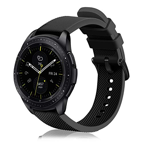 FINTIE Correa Compatible con Samsung Galaxy Watch 3 (41mm)/Galaxy Watch Active2/Active/Galaxy Watch 42mm/Gear Sport/Gear S2 Classic - Pulsera de Repuesto de Silicona, Negro