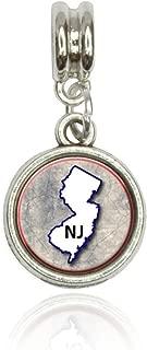 New Jersey NJ State Outline on Faded Blue Euro European Italian Style Bracelet Bead Charm