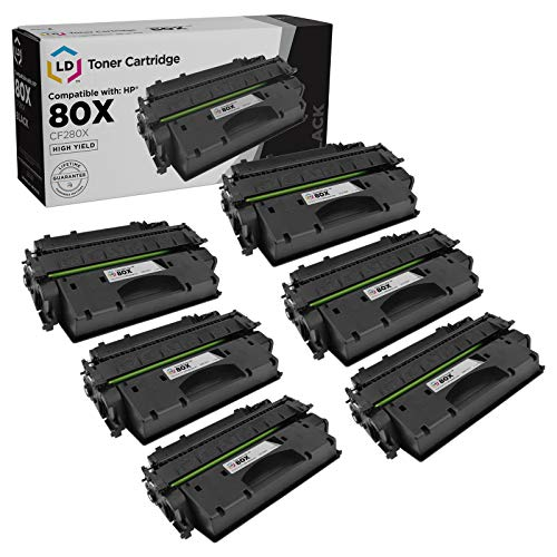 LD Compatible Toner Cartridge Replacements for HP 80X CF280X High Yield (Black, 6-Pack)