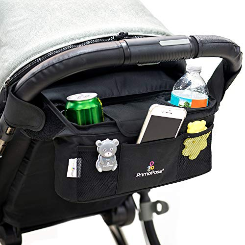 Primo Passi - Stroller Handle Organizer, Baby Stroller Organizer with Insulated Cup Holders, Diaper Storage, Pockets for Phone, Keys, Toys, Compact Design Fit Most Strollers