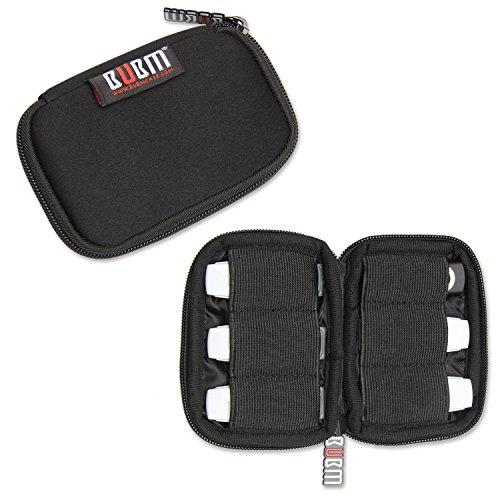 BUBM Soft Mini Tasche Aufwahrungstasche mit 6 Kapazität für USB Drive Shuttle (Schwarz)
