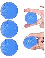 Handgreep Krachttrainer, 3 stuks Handgreepbal Handtherapie Oefening Stressbal voor mannen Vrouwen Handversterker Gereedschap Fitness Vingeroefening Handoefening Knijpballen (rond)(Blauw)