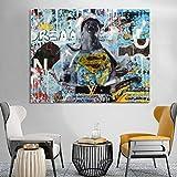 ganlanshu Cartel de Retrato de Arte Abstracto de Graffiti Callejero e impresión en Lienzo para Pintura de decoración de Sala de Estar,Pintura sin Marco,50X67cm