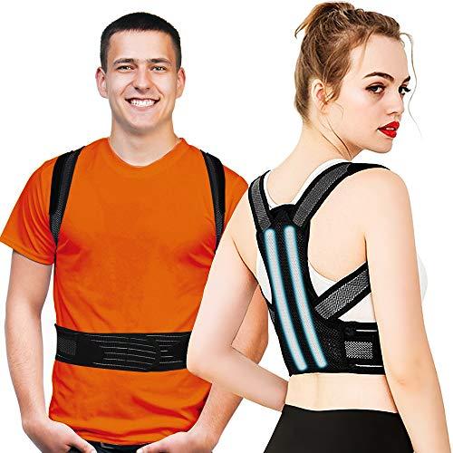 Haltungskorrektur Rücken Geradehalter für Herren Damen, Verstellbare Rückenstütze Haltungstrainer mit 2 Schienen, Verbesserung der Körperhaltung und Schmerzlinderung von Nacken Rücken Schulter
