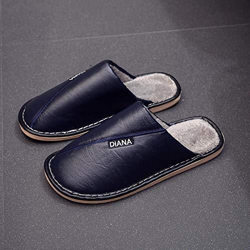 Zapatillas de casa Comfort Slippers para hombres,Zapatillas calientes antideslizantes, zapatos de algodón impermeables y que absorben los golpes-blue_40-41,Caliente Peluche Cómodo Zapatos Memory Foam