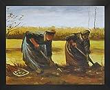 1art1 Vincent Van Gogh Póster Impresión Artística con Marco (Madera DM) - Dos Campesinas Sacando Patatas, 1885 (50 x 40cm)