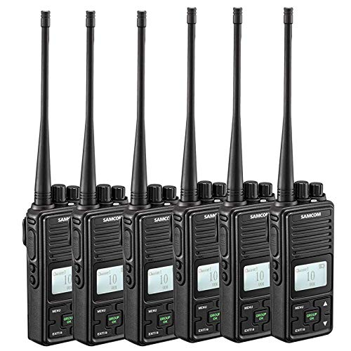 Two Way Radio, SAMCOM FPCN10A GMRS Walkie Talkie 20 Channels Wireless Intercom Group Button Portable Radio,UHF 400-470MHz, 2 Watt,Earpiece,Belt Clip (Pack of 6)