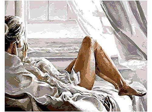 Aan zee Mooie Vrouwen Liggend in Bed Verf door Nummers Kits DIY Olie Schilderen voor Kinderen Studenten Volwassenen Beginner met Borstels en Acryl 40X50Cm Frameless
